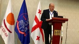 Irakli Petriashvili addressing the GTUC congress.