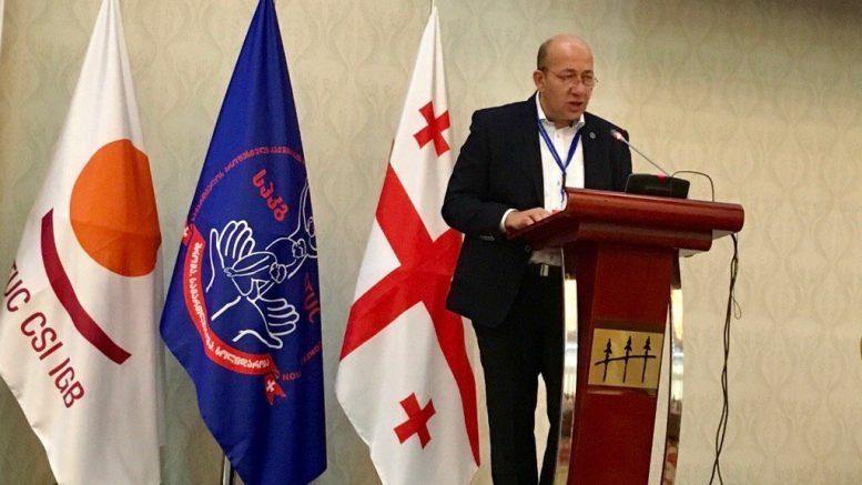 Irakli Petriashvili addressing the GTUC congress.